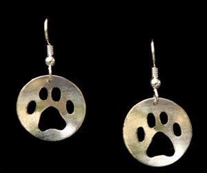 Dog Paw Earrings - Pierced & Concave
