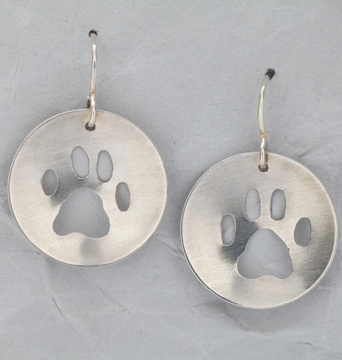 Sterling Silver Dog Paw Concave Earrings