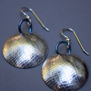 Sterling Silver and Niobium Domed Earrings