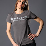 Aging Naturally men OR paws t-shirt charcoal colour alternate view