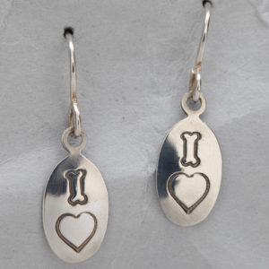 Handcrafted Sterling Silver Dog Bone Heart Earrings