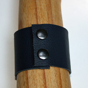 Back view of Handcrafted Mauve Paw Leather Cuff