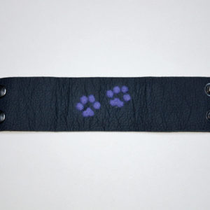 Handcrafted, Felted, Dog Paw Leather Bracelet
