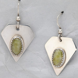 Handcrafted Sterling Silver Earrings with Antique Verde