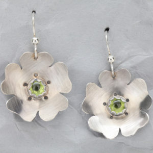 Handcrafted Sterling Silver Flower Earrings with Peridot