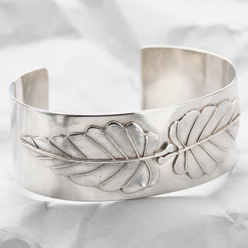 Handcrafted Sterling Silver Leaf Cuff