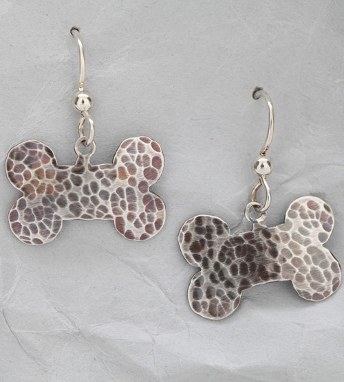 Handcrafted Sterling Silver Textured Dog Bone Earrings