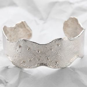 Handcrafted Sterling Silver Wavey Decorated Cuff