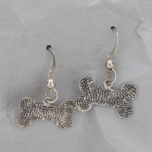 Handcrafted Textured Sterling Silver Dog Bone Earrings