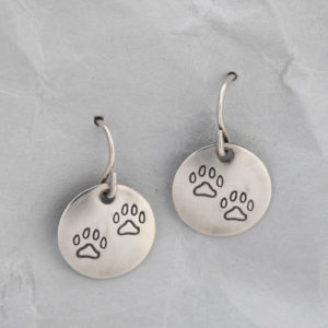 Handmade Sterling Silver Dog Paw Earrings