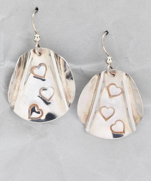 Handmade Sterling Silver Triple Heart Earrings