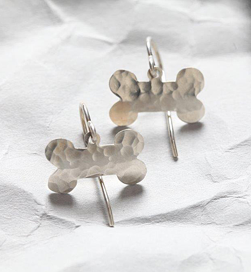 Handcrafted Sterling Silver Hammered Dog Bone Earrings