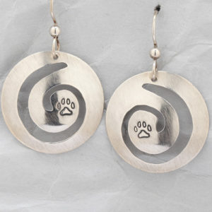 Handcrafted Sterling Silver Spiral Dog Paw Earrings