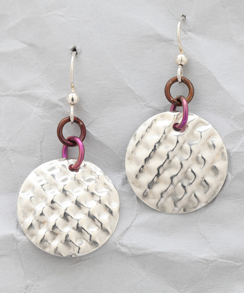 Handcrafted Sterling Silver Diagonal Dome Earrings