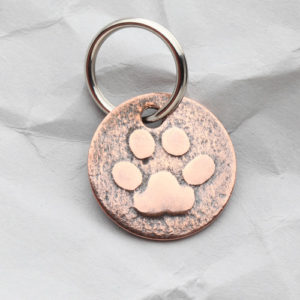 Copper Dog Paw Zipper Pull/Key Fob - Handmade