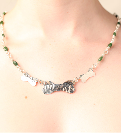 Handcrafted Sterling Silver Dog Bone Necklace with Jade