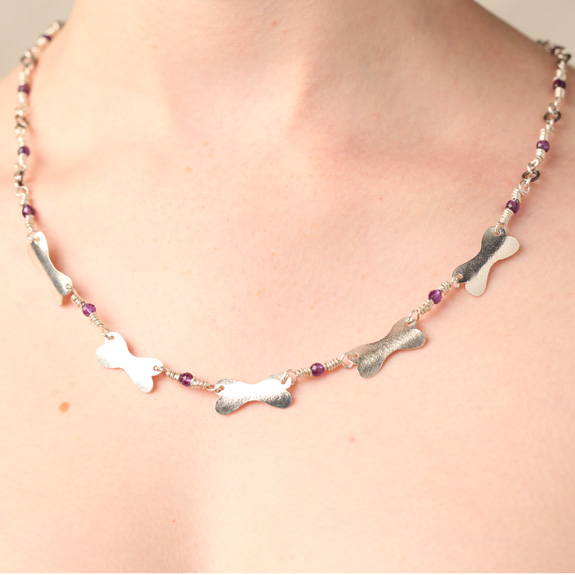 Handmade Sterling Silver Dog Bone Necklace with Faceted Amethyst Beads