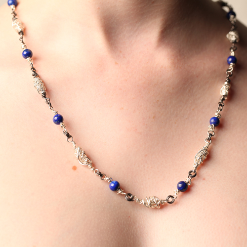 Handcrafted Fine Silver Beaded Necklace with Genuine Lapis