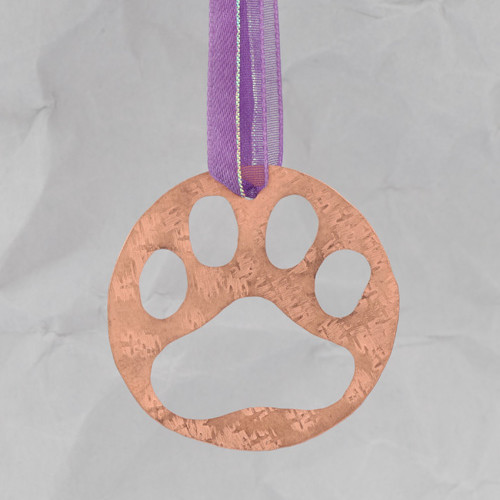 Handcrafted Copper Dog Paw Ornament