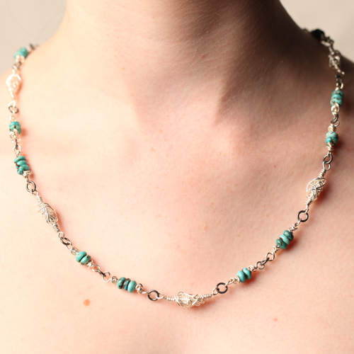 Handcrafted Fine Silver Beaded Necklace with Genuine Turquoise