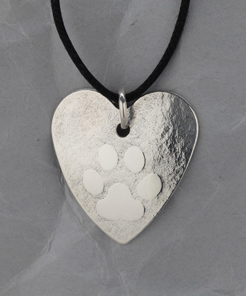 Handcrafted Fine Silver Dog Paw Heart Pendant
