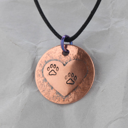 Handcrafted Copper Dog Paw Heart Pendant