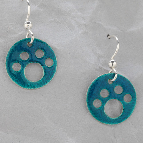 Handmade Teal Dog Paw Earrings from Argentium Sterling Silver