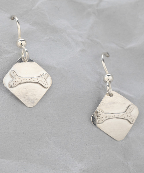 Handmade Sterling Silver Dog Bone Earrings