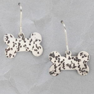 Handmade Sterling Silver Dog Bone Earrings #1