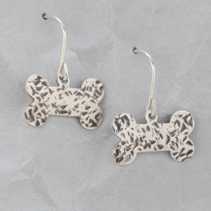 Handmade Sterling Silver Dog Bone Earrings #4