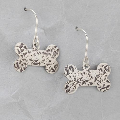 Handmade Sterling Silver Dog Bone Earrings #4