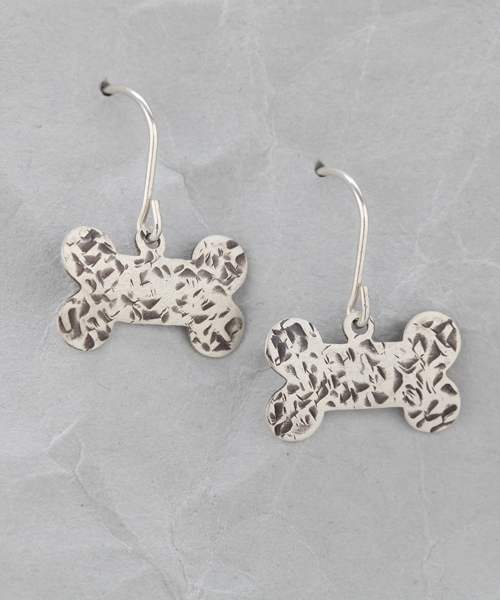 Handmade Sterling Silver Dog Bone Earrings 4
