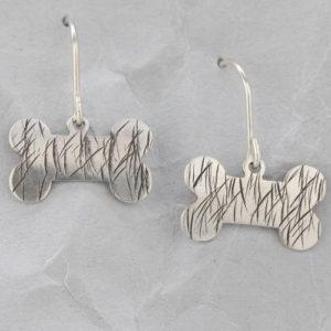Handmade Sterling Silver Dog Bone Earrings #3