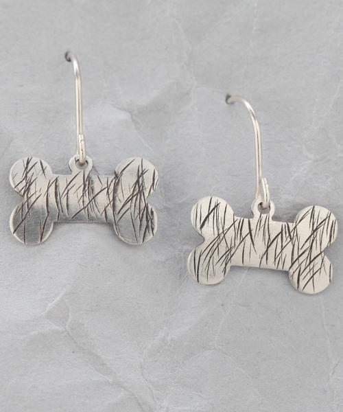 Handmade Sterling Silver Dog Bone Earrings #3