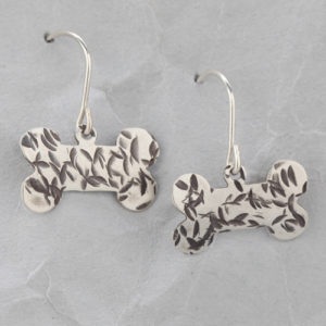 Handmade Sterling Silver Dog Bone Earrings #2