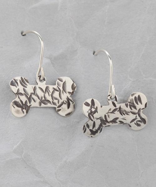 Handmade Sterling Silver Dog Bone Earrings #2