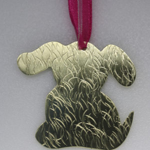 Handmade, Textured, Solid Brass Dog Ornament